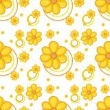 一个黄色用花装饰的设计 免版税库存图片