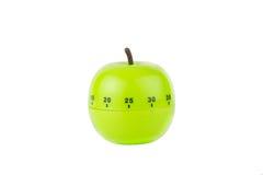 以一个绿色苹果的形式厨房定时器 图库摄影