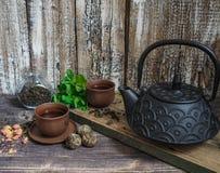 一个黑茶壶用绿茶和茶的一个杯子在薄菏旁边小树枝  免版税库存图片