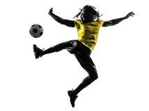 一个黑巴西足球足球运动员人剪影 图库摄影