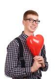 一个年轻人的纵向有气球的 库存照片