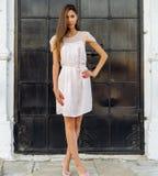一个黑金属门的美丽的深色的女孩在台阶摆在 黑眼睛表面方式性感的样式妇女 桃红色礼服的被晒黑的妇女户外 库存图片