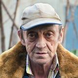 一个年长户外人特写镜头的画象 免版税图库摄影