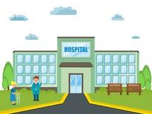 一个医院大厦的看法与医生和患者的 库存照片