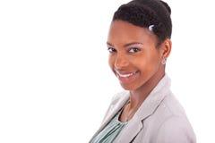 一个年轻非裔美国人的女商人的特写画象 免版税库存照片
