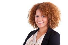 一个年轻非裔美国人的女商人的画象-黑peop 库存照片