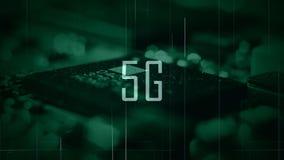 一个5G标题有微集成电路背景和一个绿色等级 免版税库存图片