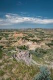 一个badland区域的看法在西奥多・罗斯福国家公园在北达科他 免版税库存图片