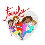 一个mixed-race家庭的例证 免版税库存照片