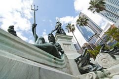 一个poseidon雕象在悉尼公园 库存图片