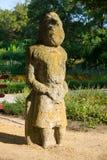 一个scythian战士的古老石雕象 库存照片