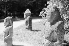 一个scythian战士的古老石雕象 免版税库存照片