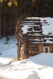 一个smal和oldl木房子在一个多雪的森林里 免版税图库摄影