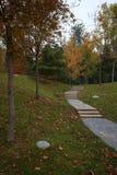 一串足迹的五颜六色的风景在清华大学校园里的  图库摄影