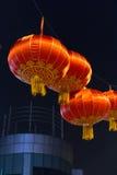 一些个中国灯笼在晚上 免版税库存照片