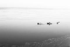 一些条小船在海岸附近的海 库存照片