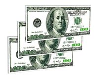 一些美国在白色隔绝的一百美元 免版税库存图片