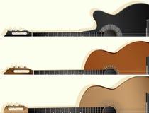 一些类型吉他水平的传染媒介横幅  库存图片