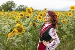 一件传统保加利亚礼服的女孩在向日葵的领域 库存图片