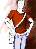一件便服的年轻英俊的人 库存图片