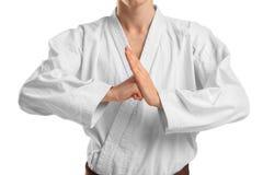 一件和服的一个人在被隔绝的白色背景的战斗的姿态 免版税库存图片