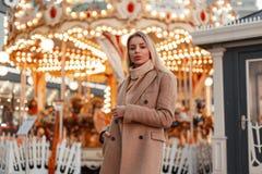一件时髦的秋天外套和葡萄酒被编织的毛线衣的美丽的年轻时尚妇女在游乐场 库存图片