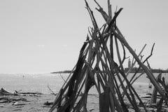 一件木艺术品在岸的 意大利,欧洲 图库摄影