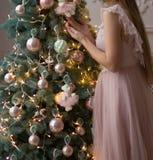 一件桃红色礼服的女孩在圣诞树附近,假日 库存照片