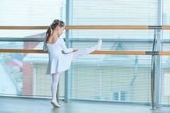 一件桃红色芭蕾舞短裙的小芭蕾舞女演员女孩 跳舞古典芭蕾的可爱的孩子在一个白色演播室 儿童舞蹈 孩子 免版税库存照片