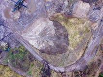 一件猎物的鸟瞰图沙子和石渣的 库存照片