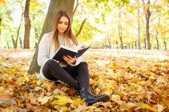 一件白色毛线衣的一个美丽的女孩拿着在秋天公园背景的一本书  免版税图库摄影