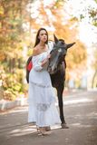 一件白色礼服的一个女孩走与一匹马在秋天公园 图库摄影