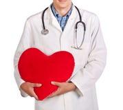 一件空白外套的医生与一个红色重点 免版税库存照片