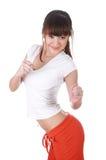 一件空白T恤杉的一个迷人的女孩 库存图片