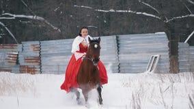 一件红色礼服的可爱的年轻浅黑肤色的男人疾驰在马的通过雪在冬天 股票视频