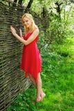 一件红色礼服的新美丽的白肤金发的妇女 免版税库存照片