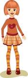 一件红色T恤杉的女孩 库存照片