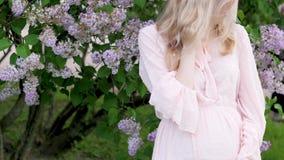 一件美丽的礼服的一怀孕的年轻女人在公园走 一件桃红色礼服的一名怀孕的白肤金发的妇女在站立 影视素材