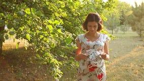 一件美丽的礼服的怀孕的女孩走在公园的 股票录像