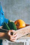 一件蓝色礼服的一个女孩拿着秋天收获 免版税库存图片
