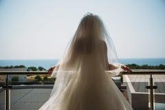 一件豪华白色礼服的美丽的新娘,背面图 背景的海 库存图片