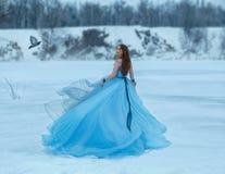 一件豪华,豪华,蓝色礼服的灰姑娘有一列壮观的火车的 女孩在用雪盖的一个冻湖走 图库摄影