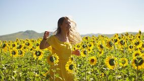 一件黄色礼服的一个女孩横跨在向日葵的领域跑 慢的行动 影视素材