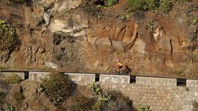 一件黄色T恤杉的一个人在体育路自行车在山的路被找出的上流乘坐 股票录像