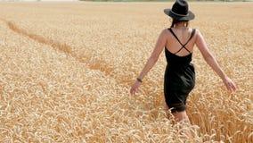 一件黑礼服和帽子的妇女是在领域 影视素材