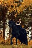 一件黑礼服的女孩和在弗里斯兰省人马的一个黑冠状头饰在一个不可思议的童话森林乘坐 免版税库存图片