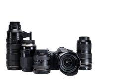 一位专业摄影师的想法有白色背景辅助部件的 库存照片