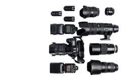 一位专业摄影师的想法有白色背景辅助部件的 库存图片