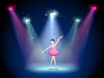一位优美的芭蕾舞女演员在阶段的中心 向量例证
