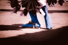 一位传统matachin墨西哥人舞蹈家的脚 免版税库存图片